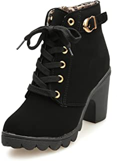 Haoricu_ High Heel Shoes Women, Lace Up Ankle Boots Thick...