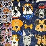 DIE NÄHZWERGE Double-Face Superflausch Hunderassen - Meterware ab 50cm, in 3 Farben   Wellness-Fleece Softplüsch Microfleece – Pfoten Knochen Dogs (Marine)