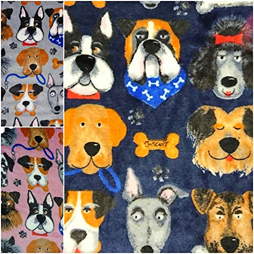 DIE NÄHZWERGE Double-Face Superflausch Hunderassen - Meterware ab 50cm, in 3 Farben | Wellness-Fleece Softplüsch Microfleece – Pfoten Knochen Dogs (Marine)
