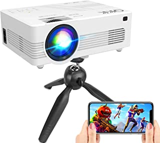 "[WiFi Projector] QKK Upgraded 6500Lumens Projector, Full HD 1080P Supported Mini Projector [Tripod Included], Max 200"" Dis..."