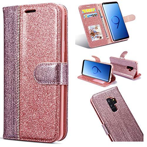 Magnetverschluss Bookstyle für Samsung S9,Butterfly Diamond Sparkle Funkeln Bling Glitter Glitzer Ledertasche Stand Funktion Kartenfach Slim Klassisch Modisch Flip Wallet Hülle Schutzhülle