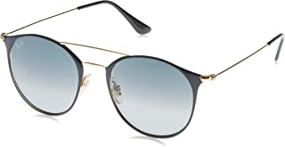 RB3546 Round Metal Sunglasses, Brown On Gold/Blue...