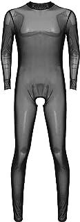 Kaerm Men's One Piece Teddies Mesh Sheer See Through Skinny Tights Full Body Stocking Pantyhose