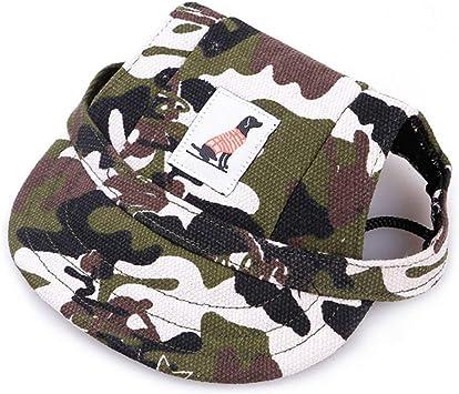 Haustier-Canvas-Hut FGFGG Hunde-Sport-Baseballkappe mit Ohrl/öchern und Kinnriemen Visier-Kappe f/ür Hunde und Katzen