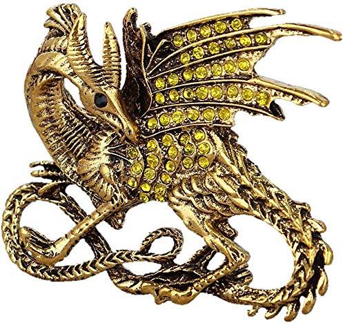 Pin de esmalte de dragón negro verde, nuevo esmalte azul fresco dragón mágico joyería encanto broche pin nuevo dragón medieval cristal hombre broche amarillo 3