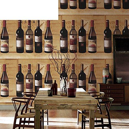 American Vintage Weinkeller Tapete Wein Weinflasche Tapetenmuster Schloss Restaurant und Bar-Hintergrundbild-A