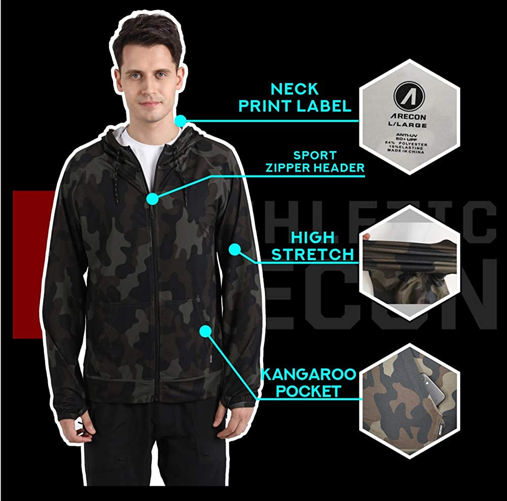 ARECON Mens Sports Running breathable hoodie Jacket stretch Full-Zip Long Sleeve Casual Sweatshirt