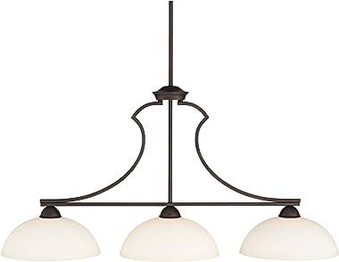 "Milbury Bronze Large Linear Pendant Chandelier Lighting 40 1/4"" Wide White Glass Bowl Shade 3-Light Fixture for Kitchen I"