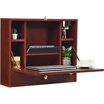 TANGKULA Wall Mounted Table, Multi-Function Wall Mount Laptop Desk Writing Desk Home Office Computer Desk with Large Storage Area, Wall Desk (Red-Brown)
