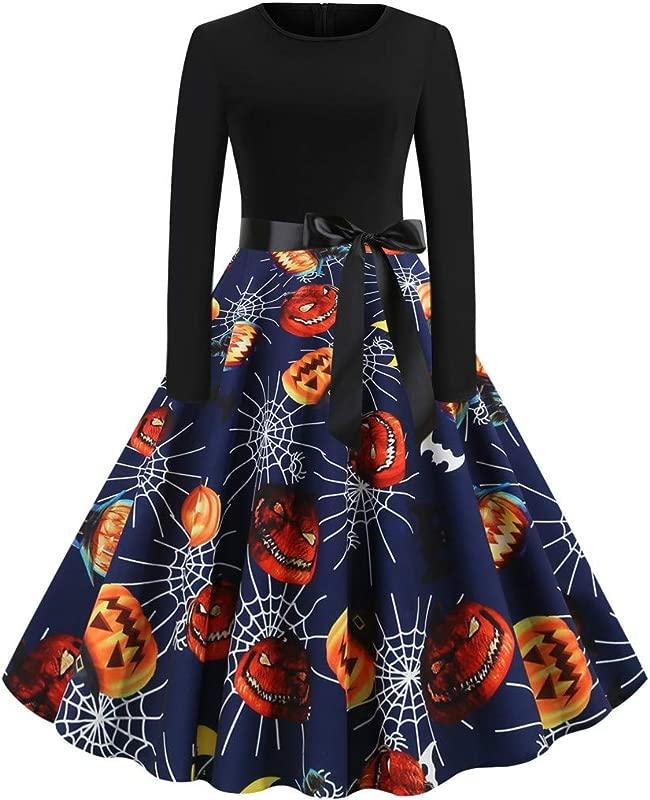 Onegirl Women Vintage 80s Round Neck Long Sleeve Belt Hepburn Swing Dress Halloween Pumpkin Print Party Dresses