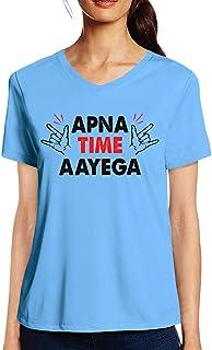Pooplu Womens Apna Time Aayega Cotton Printed V Neck Half Sleeves Multicolour T Shirt. Movie, Quotes, Gully Boy Tshirts