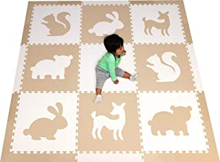 SoftTiles Woodland Animals Playmat   Kids Foam Play Mats   Nontoxic Baby Play Mats w/Sloped Edges for Playrooms and Nursery- Extra Thick 2 Foot Floor Tiles- 6.5 x 6.5 ft. (White, Light Gray) SCWOOWT