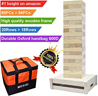 MESIXI Much Higher!!!Genuine Giant Tower Yard Jumbo Hardwood Classic Game, Equipped with a Wooden Frame/Table,60 PCs Large Blocks(up to 5ft+) with Enhanced Carrying Storage Bag for Adult Outdoor Toys