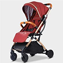 LANGY Lightweight Stroller Summer Stroller Umbrella 3D Stroller Travel cart, Foldable, Adjustable seat, Suitable for 0-3 Years Old (RED)