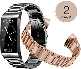 Shangpule Compatible for Fitbit Charge 3 & Charge3 SE Bands(2 Pack), Stainless Steel Metal Replacement Accessories Women Man Large Small