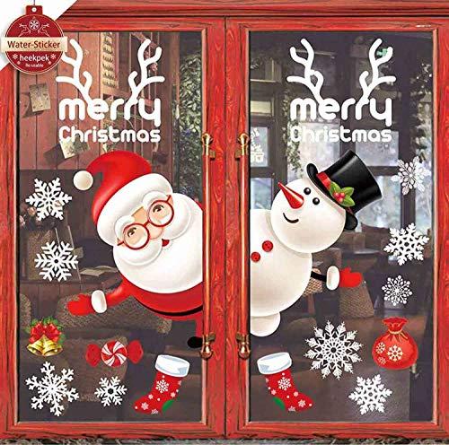 heekpek Pegatinas de Ventana Feliz Navidad Saludos Navidad Decoraciones Navideñas para Escaparates Monigote de Nieve Papá Noel Vinilos Navideños Artículos de Fiesta Extraíbles