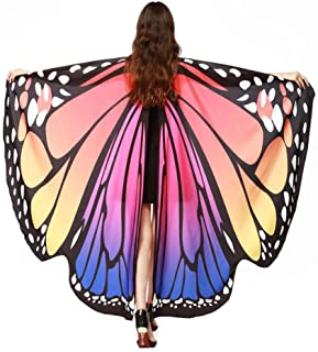 Butterfly Shawl,Hemlock 2018 New Womens Halloween Butterfly Wings Shawl Cape Scarf Fairy Poncho Shawl Wrap Costume Accessory (Hot Pink)