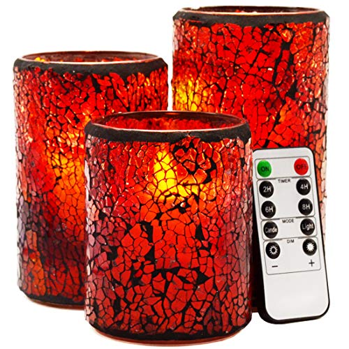 LED Mosaic Flameless Candle, Cracked Glass Pattern Moving Wick Pillar Candle - Centerpieces Taper Bed Fireplace Decor - Set of 3