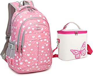 Tonlen Youth Kids Girls Heavy Duty Book Bag School Backpack and Lunch Bag Set Pink