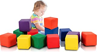 Costzon Soft Blocks, Toddler Foam Block Playset for Safe Active Play and Building, Indoor Climbers Stacking Play Set Learning Toys for Toddlers, Baby, Kids and Preschooler (5.5-Inch, 12-Piece)