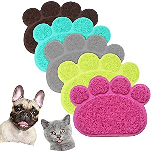JOYJULY PVC Pet Dog Cat Puppy Kitten Dish Bowl Food Water Feeding Placemat, Non-Slip Cat Litter Mat Paw Shape, Rose Small
