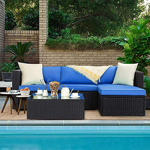 VITESSE 5 Pieces Patio Furniture Sectional Sets,Outdoor All-Weather PE Rattan Wicker Lawn Conversation Sets,Garden Sofa Set with Coffee Table and Washable Couch Cushions (Royal Blue)