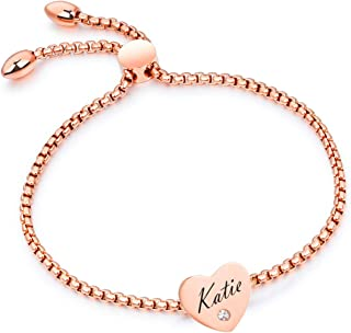 BAIYI Personalized Name Bar Bracelet - Custom Stainless Steel Heart Charm Bracelet for Women and Girls