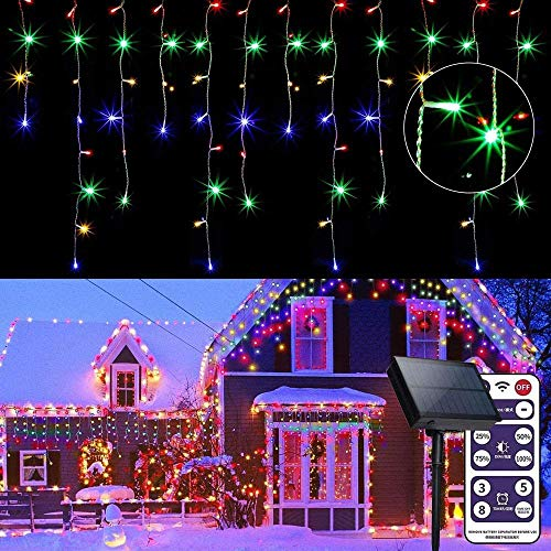 Luz de hielo solar 16 pies / 5m Decoración al aire libre 256 LED 8 Modo Cortina remota Luz Luz de hadas Luz de Navidad Lámpara de Navidad Balcón Ligero Impermeable Jardín Backparty Terraza-Vistoso