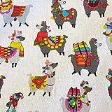 Werthers Stoffe Stoff Baumwolle Meterware Lama bunt weiß