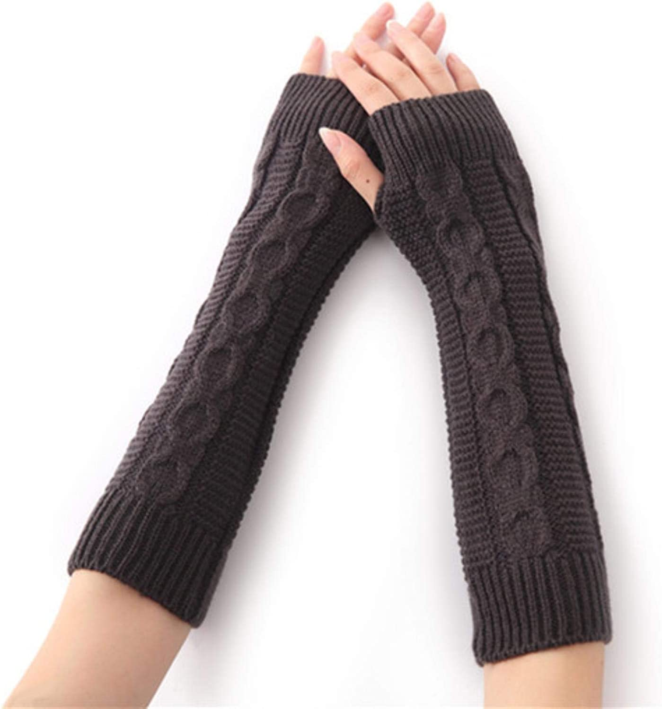 Women Winter Warm Knitted Long Glove Lady Hand Arm Fingerless Crochet Elbow Sleeves Twist Pattern Mitten With Thumb Hole