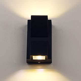 Pathson LED Wall Light, Outdoor Wall Sconce Waterproof Porch Lighting 3000K Warm White, Matte Black Modern Wall Mount Up Down Light Fixtures(Warm Light)