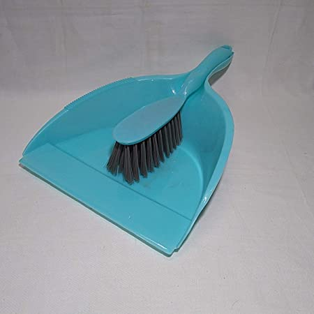 Shagun Plastic Strong Big Dust Pan with Brush for Home/Multipurpose Use (Aqua Green)- Set of 1