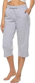 MOCOLY Women's Cotton Bermuda Capri Pants Straight Leg Activewear Running Workout 3/4 Crop Yoga Lounge Capri Pants