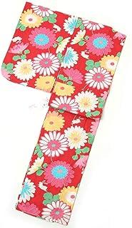 子供浴衣 女の子 150cm 13~15才 単品 赤地 花とうさぎ柄 小さな恋人