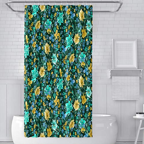 YUEMT Shower Curtain Vintage Little Yellow Turquoise Blue Green Orange Floral Rose Flowers Green Summer Stall Size 36x72 Inch 12 Hooks Home Hotel Bathroom Decoration