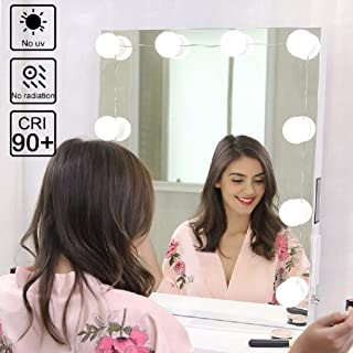 Hollywood Style LED Vanity Mirror Lights Kit, 10 Dimmable Light Bulbs with Touch Sensor for Makeup Dressing Table (Mirror Not Included)