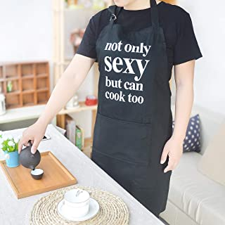 BJYHIYH Sexy Apron for Men and Women Cotton Canvas Chef Apron for Cooking, Baking, Grilling with Adjustable Neck Strap and Long Waist (Black)