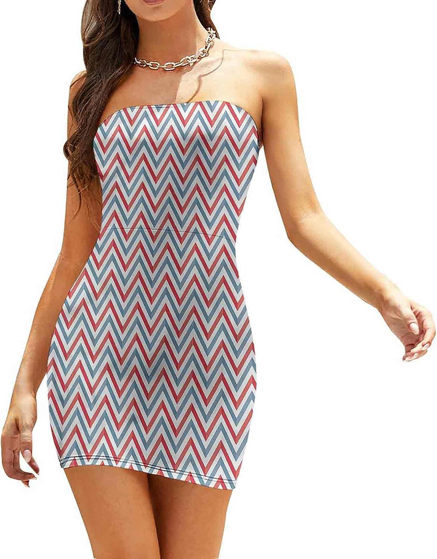 Women's Strapless Bodycon Club Dress Pastel Toned Rhombus Pattern Dresses