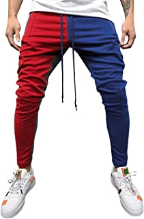 2019 Men's Casual Solid Loose Patchwork Color Sweatpant Trousers Jogger Pant