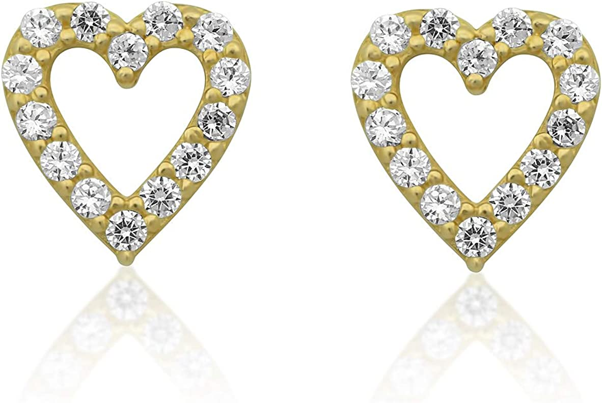 14K Yellow Gold Cz Tiny Heart 0.23in Jacksonville Mall Stud sold out Earrings -
