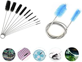 Cleaning Brush Set, Ouioui 11 Pieces Aquarium Water Filter Pipe Air Tube Hose Stainless Steel Flexible Double Ended Hose Kit and Nylon Scrub Brush Bottle Cleaner