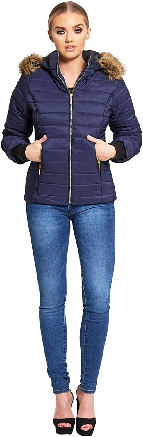 Womens Faux Fur Hooded Puffer Bubble Padded Quilted Puffa Jacket Thick Warm Coat