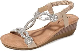 Womens Wedge Sandal Platform Rhinestone Dress Sandals Bohemia Shoes