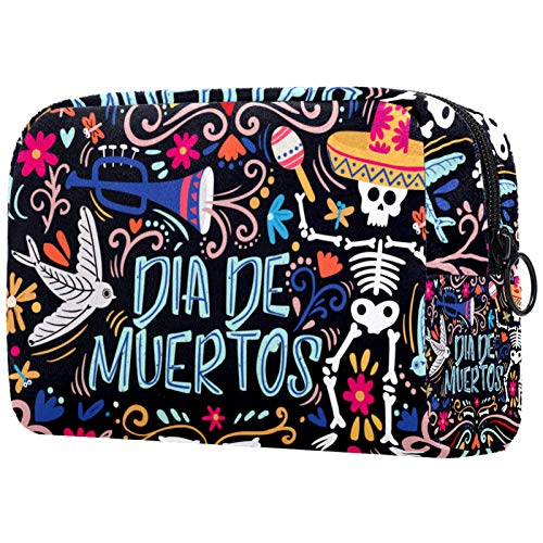 Toiletry Bag Large Portable Waterproof Cosmetic Bag Travel Hanging Make up Wash Bags Makeup Organizer Toiletries Bathroom Storage Day of The Dead Sugar Skull Bones