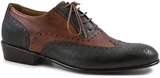 Leonardo Shoes Scarpe Francesine Basse Donna Artigianali Verde/Cuoio - Codice Modello: Pina 037 Verde/Cuoio