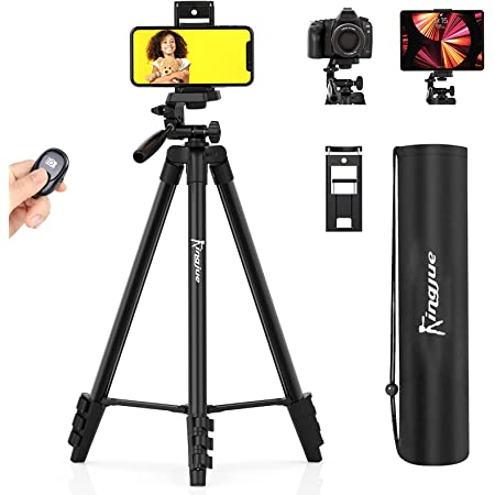 KINGJUE 60'' Camera Phone Tripod Stand for DSLR Canon Nikon with Universal Tablet Phone Holder Remote Shutter and Carry Bag Max Load 6.6LB