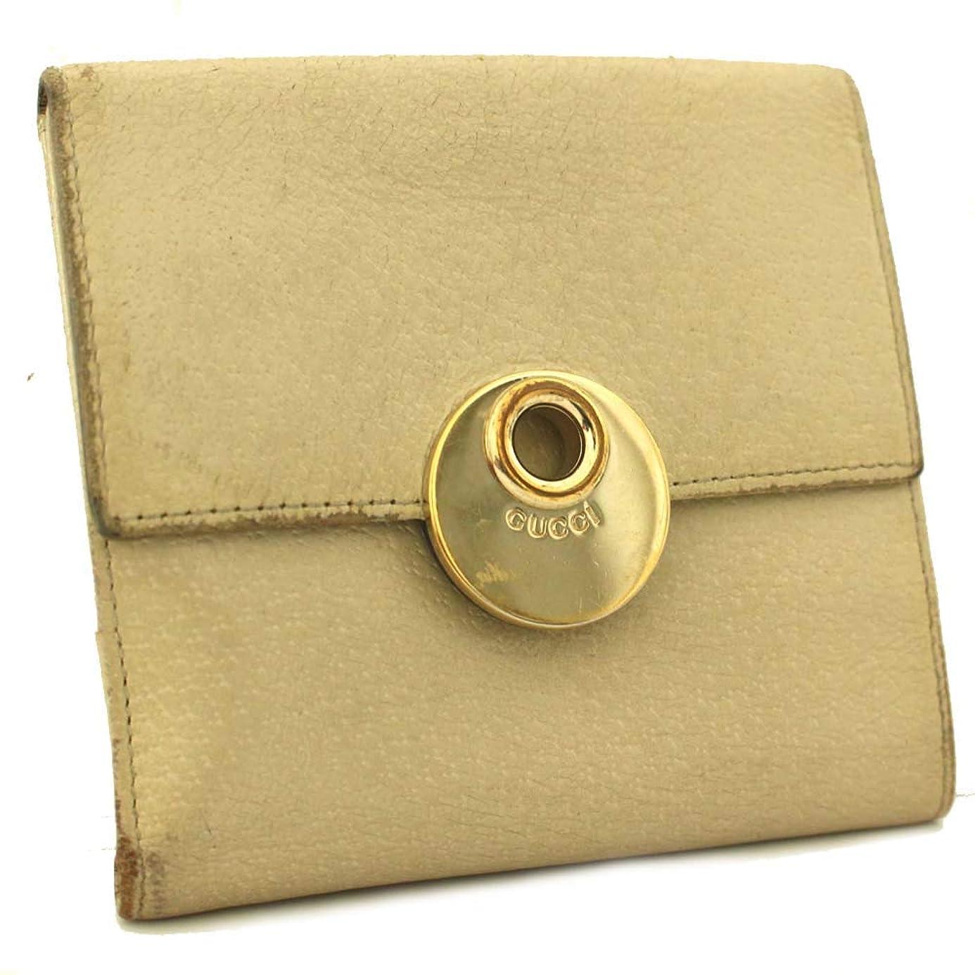 ゆり抗生物質カウンターパートグッチ GUCCI Wホック財布 ロゴ 120932 二つ折り財布 アイボリー レディース 型押しレザー [中古]