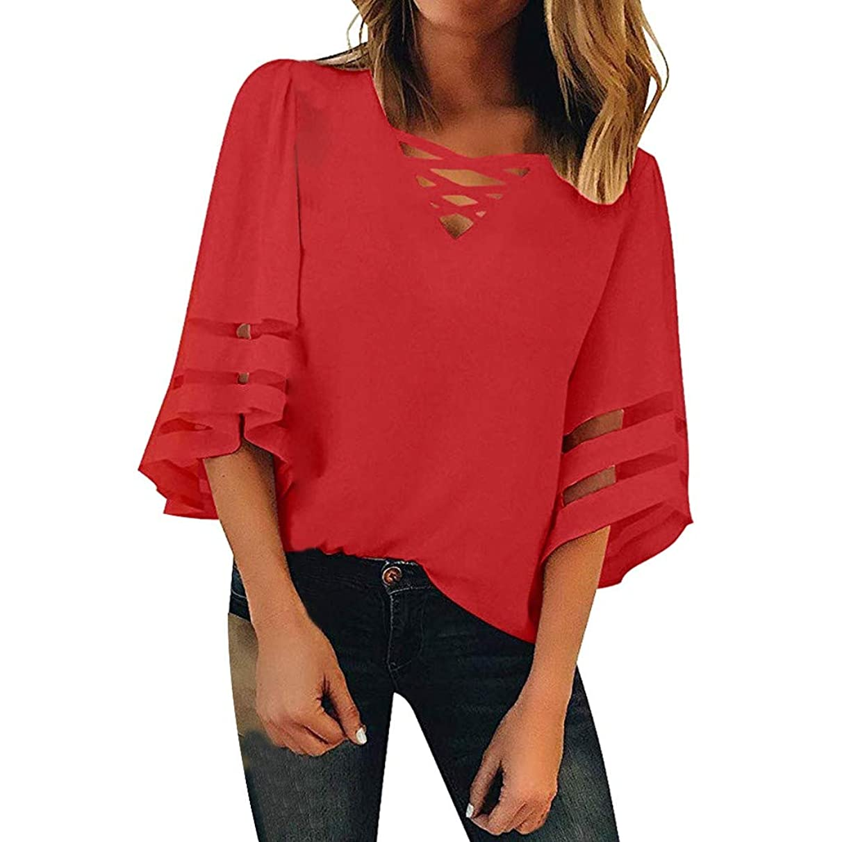 Mimfor Women Button V Neck Mesh Panel Blouse 3/4 Bell Sleeve Loose Top Shirt