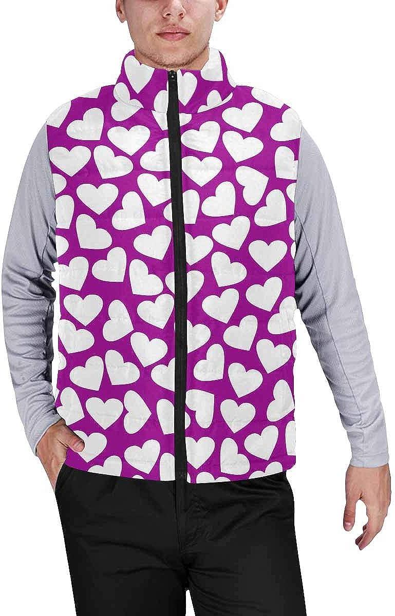 InterestPrint Men's Full-Zip Soft Warm Winter Outwear Vest Hearts Pattern