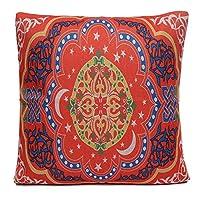 DOLORES スクエアレッドジオメトリスローウエストピローケースカバーシートクッションソファベッドホームデコレーション 枕 (Color : 2)